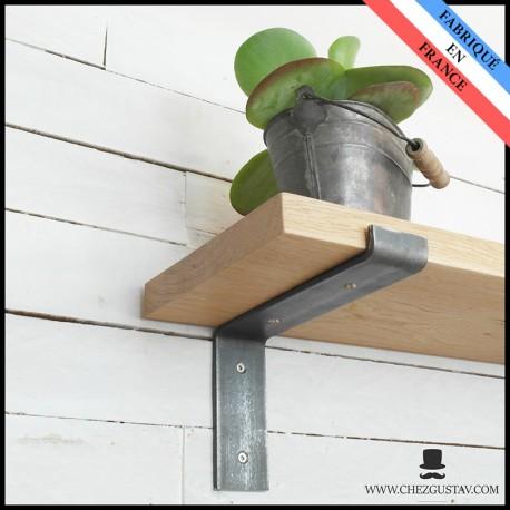 Équerres murales en métal (acier) - Style industriel - Pour tablettes en bois - Support mural
