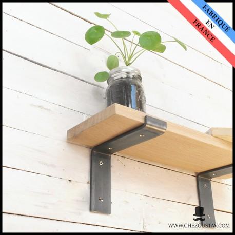 Équerre brute pour planche de 150 mm - Style industriel - Pour tablette en bois - Support mural en métal (acier)