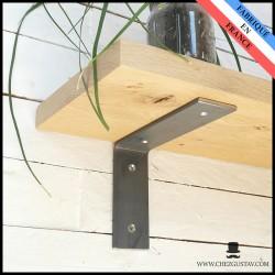 Équerre brute sans rebord 13x18 cm - Style industriel - Pour tablette en bois - Support mural en métal (acier)