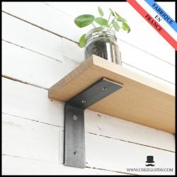 Équerre brute sans rebord 13x13 cm - Style industriel - Pour tablette en bois - Support mural en métal (acier)